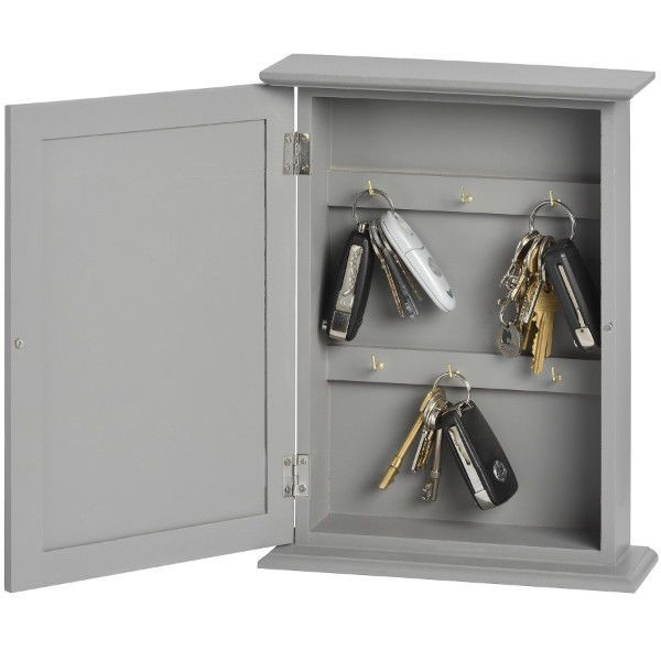 Grey Gray Wooden Key Box Holder Cabinet Wallmounted Or